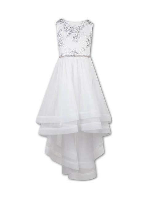 Girls 7-16 Glitter Top Layered Hem Dress