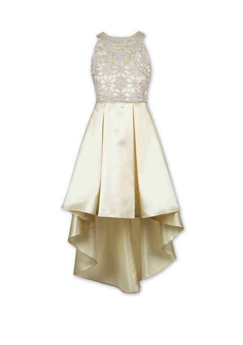 Girls 7-16 Satin Braid Lace High Low Solid Dress