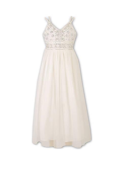 Girls 7-16 Ivory Jewel Top Maxi Dress
