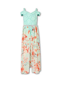 Speechless Girls 7-16 Mint Coral Special Occasion Walk Thru Dress