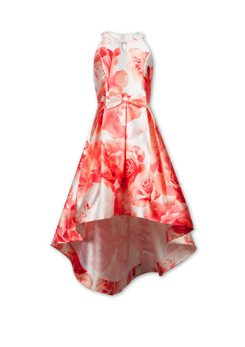 Girls 7-16 Floral High Low Bow Front Dress
