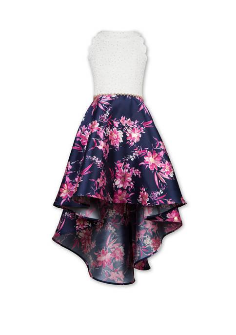 Girls 7-16 Lace Floral Foil High Low Dress