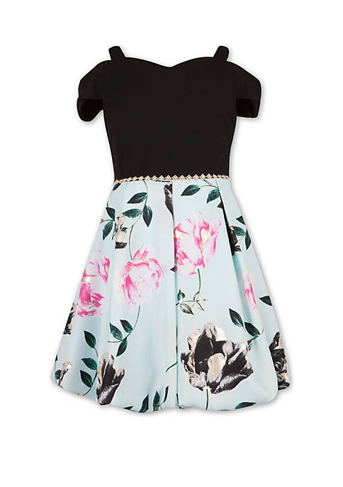 Girls 7-16 Black to Mint Print Dress