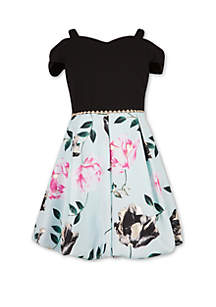 Speechless Girls 7-16 Black to Mint Print Dress