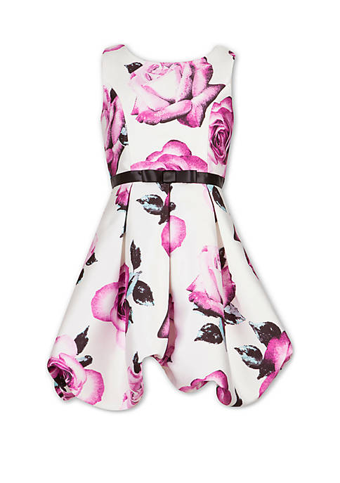 Girls 7-16 Rose Print Bow Belt Pleated Dress
