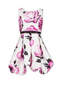 Speechless Girls 7-16 Rose Print Bow Belt Pleated Dress