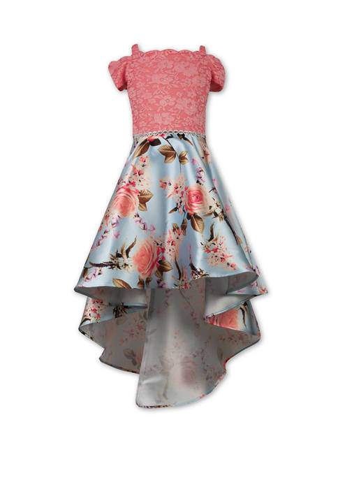 Girls 7-16 Lace Floral High Low Dress