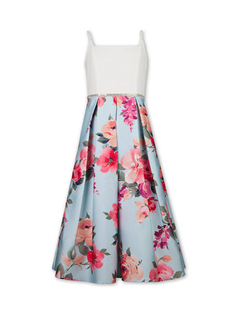 Girls 7-16 Square Neck Floral Maxi Occasion Dress