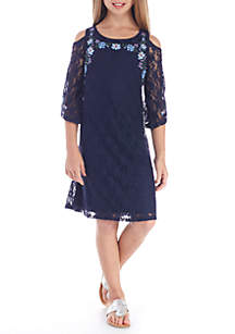 Cold Shoulder Lace Embroidery Dress GIrls 7-16