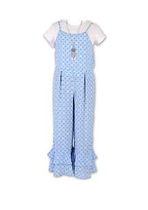 Speechless Girls 7-16 Blue and White Flounce Leg Jumper