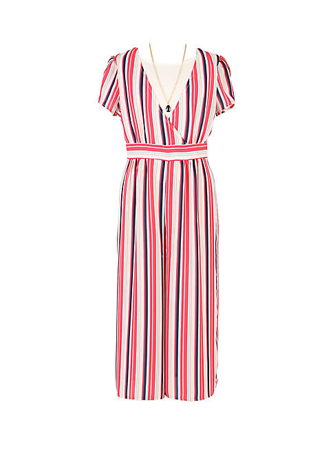 Girls 7-16 Multi Stripe Short Sleeve Jumpsuit