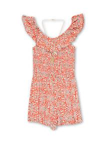 Speechless Girls 7-16 Orange and White Smocked Body Romper