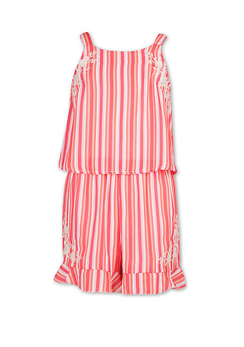 Girls 7-16 Striped Romper