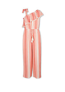 Speechless Girls 7-16 Tie Sleeve Orange and White Sleeveless Jumpsuit