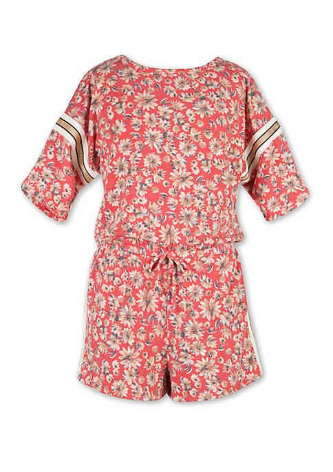 Girls 7-16 Floral Knit Romper