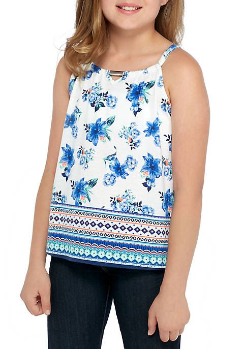 Jolt Girls 7-16 Border Blues Keyhole Neck Tank
