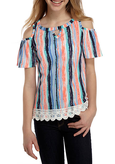 SEQUIN HEARTS girls Keyhole Neck Floral Crochet Hem