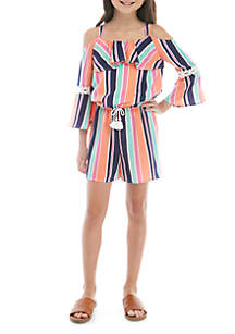 b3df8ac5c3cd ... SEQUIN HEARTS girls Girls 7-16 Striped Cold Shoulder Romper