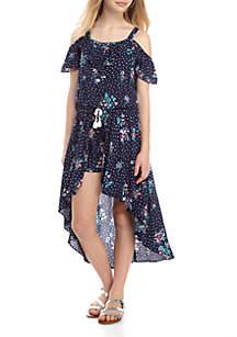 Floral Dot Walk Thru Dress Girls 7-16