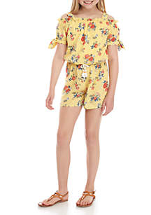 637dae9cc ... Printed Jumpsuit · My Michelle Girls 7-16 Yellow Floral Cold Shoulder  Romper