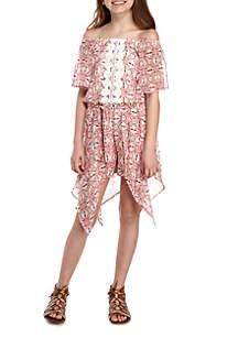 Crochet Front Printed Short Dress Girls 7-16