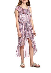 One Shoulder Bayadere Print Walkthru Dress