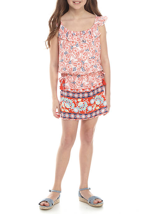 SEQUIN HEARTS girls Skirt Front Border Print Romper