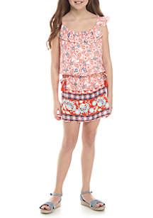 Skirt Front Border Print Romper Girls 7-16