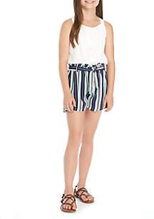 Girls 7-16 Stripe Short Romper