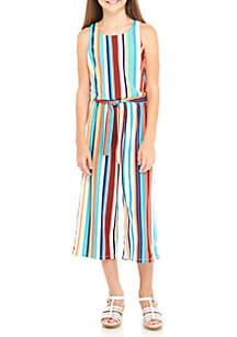 Girls 7-16 Multi-Stripe Knit Belted Jumpsuit