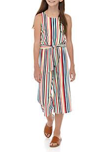 SEQUIN HEARTS girls Girls 7-16 Multi Stripe Belted Knit Jumpsuit