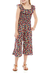 4acd004453e3 ... SEQUIN HEARTS girls Girls 7-16 Navy Floral Smocked Jumpsuit