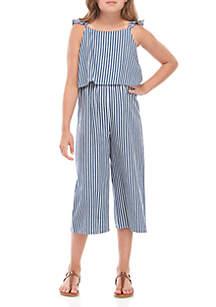 SEQUIN HEARTS girls Girls 7-16 Railroad Stripe Popover Jumpsuit