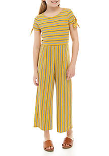 SEQUIN HEARTS girls Girls 7-16 Gold Stripe Rib Knit Jumpsuit
