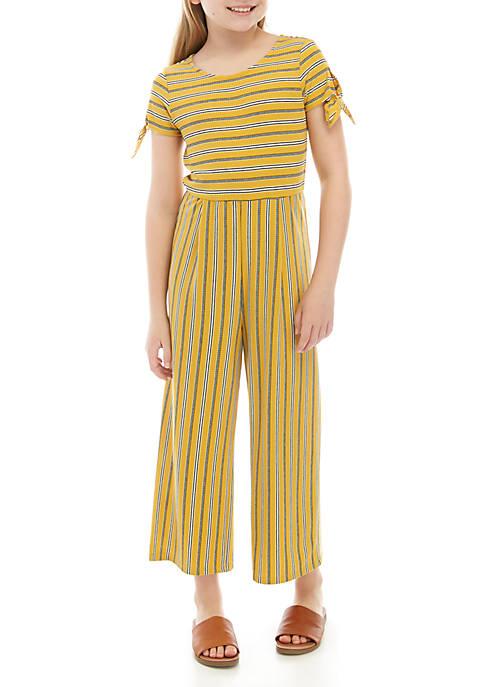 Girls 7-16 Short Sleeve Stripe Knit Cropped Jumpsuit
