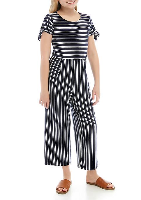 Girls 7-16 Short Sleeve Stripe Cropped Jumpsuit