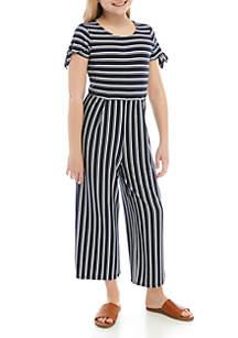 SEQUIN HEARTS girls Girls 7-16 Short Sleeve Stripe Cropped Jumpsuit