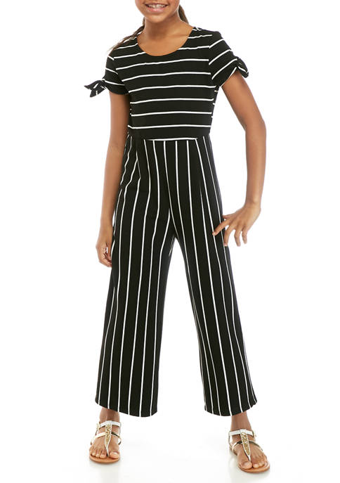 Girls 7-16 Short Sleeve Stripe Knit Jumpsuit