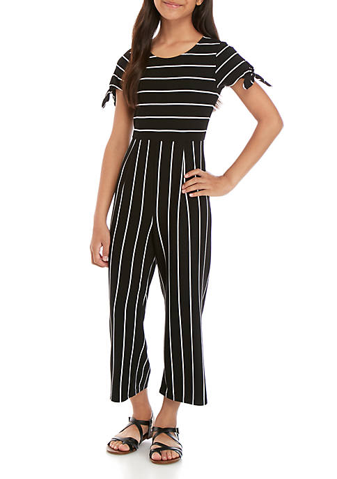 Girls 7-16 Short Sleeve Black White Knit Stripe Jumpsuit