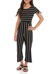 SEQUIN HEARTS girls Girls 7-16 Short Sleeve Black White Knit Stripe Jumpsuit