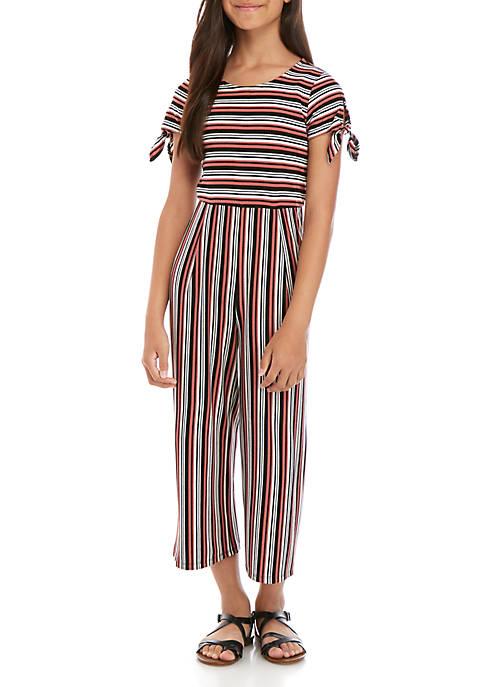 Girls 7-16 Short Sleeve Navy Blush Stripe Knit Jumpsuit