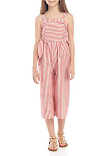 SEQUIN HEARTS girls Girls 7-16 Red and White Candy Cane Stripe Jumpsuit