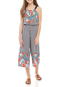 SEQUIN HEARTS girls Girls 7-16 Navy Floral Stripe Jumpsuit