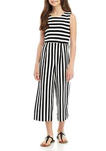 SEQUIN HEARTS girls Girls 7-16 Black White Stripe Knit Jumpsuit