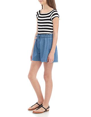 29e01855d8 SEQUIN HEARTS girls Girls 7-16 Black White Stripe Denim Romper | belk