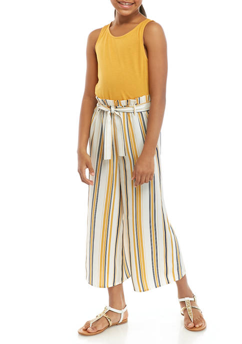 Girls 7-16 Sleeveless Tank to Stripe Belted Woven Pant Jumpsuit
