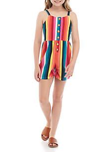 SEQUIN HEARTS girls Girls 7-16 Button Front Multi Stripe Romper