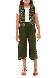 SEQUIN HEARTS girls Girls 7-16 Printed Vest and Jumpsuit Set