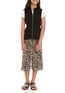 SEQUIN HEARTS girls Girls 7-16 Short Sleeve Black Vest and Cheetah Print Jumpsuit Set