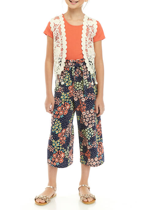 Girls 7-16 Crochet Vest and Printed Pant Jumpsuit